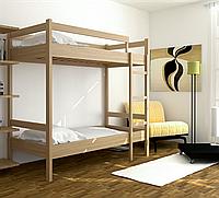 Ліжко двох'ярусне з натурального дерева для дому чи хостелу