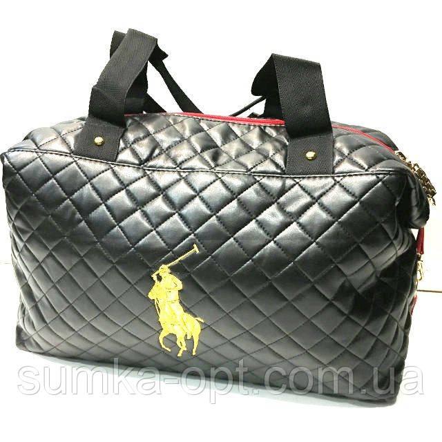 Стеганные женские сумки Polo качество (черный глянец)30*38см