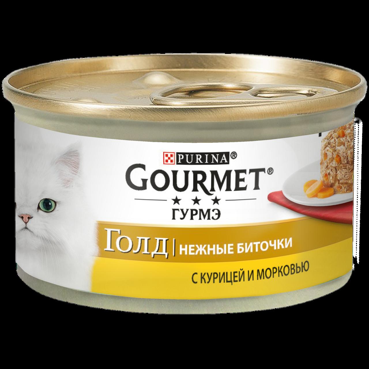 Консервы для кошек Purina Gourmet Gold Нежные биточки, курица с морковью, банка, 85 г