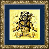 """Картина подарок на золоте знак зодиака """"ЛЕВ"""" мужчина"""