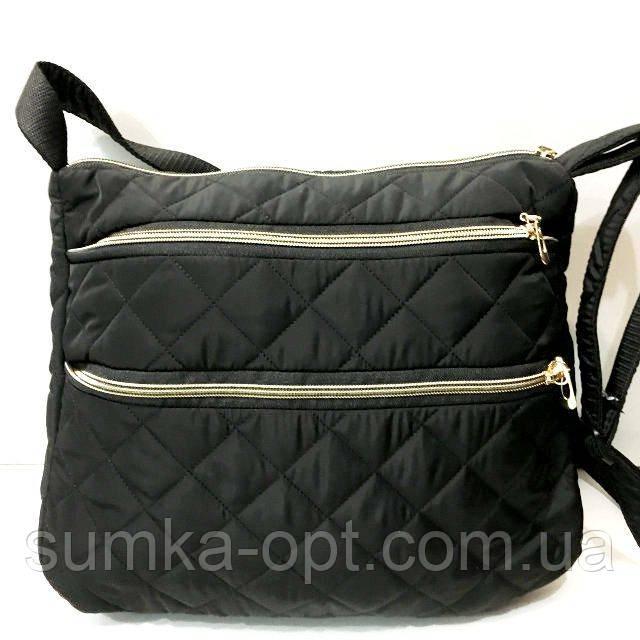 Стеганные женские сумки (черный матовый)26*37см