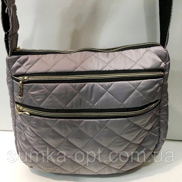 Стеганные женские сумки (серебро матовый)26*37см
