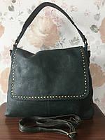Женская сумка темно-зеленая