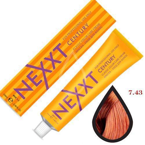 Крем-краска для волос Nexxt Professional 7.43 средне-русый медно-золотистый 100ml