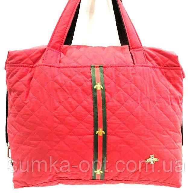 Стеганные женские сумки с полоской GUCCI (красный матовый)26*38см