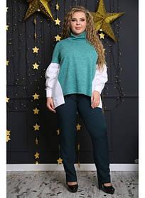 Женская стильная рубашка Матье цвет зеленый / размер 48-72