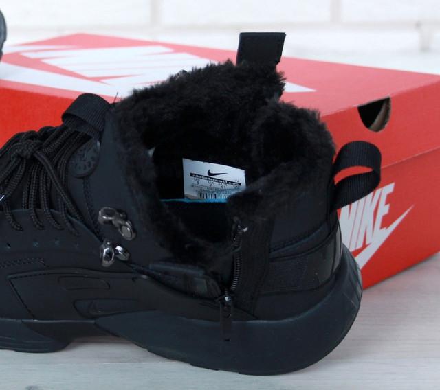 524dcef7 Зимние мужские кроссовки Nike Huarache теплые высокие молодежные найки  хитовые в черном цвете, ТОП-реплика