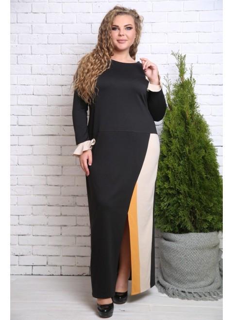 0959df072c28a3e Женское нарядное платье Дениз беж-горчица / размер 48-72 / большие размеры -