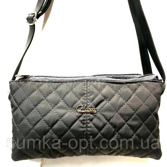 Стеганные женские клатчи-сумочки на 2 отдел. (черный)17*24см