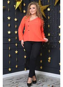 Женская стильная рубашка Инга цвет коралл / размер 48-72