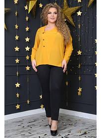 Женская стильная рубашка Инга цвет горчица / размер 48-72
