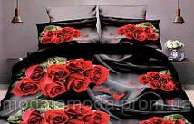 Евро набор постельного белья из Ранфорса Черные Розы