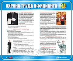 Стенд. Охорона праці офіціанта.(Рус.) 0,6х0,5. Пластик
