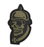 101 INC WWI SKULL 3D PATCH GREEN