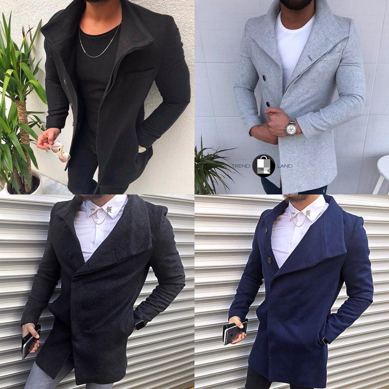 Мужское шерстяное (70%) демисезонное пальто 4 цвета в наличии