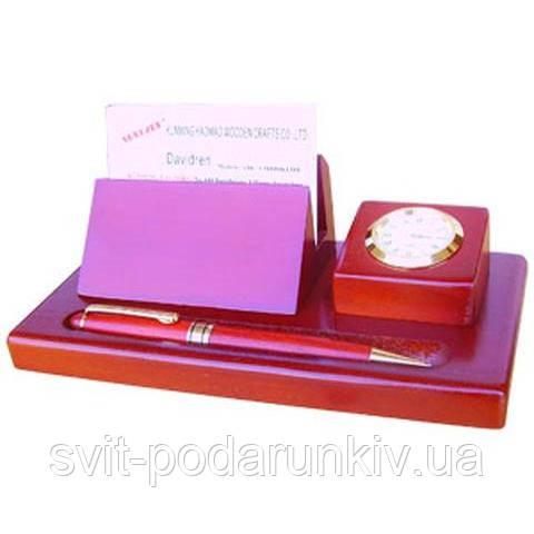 Набор офисный настольный подарочный с часами D932F-101 ручка шариковая из дерева