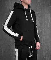 Спортивный теплый костюм черный с широкими белыми лампасами, фото 2