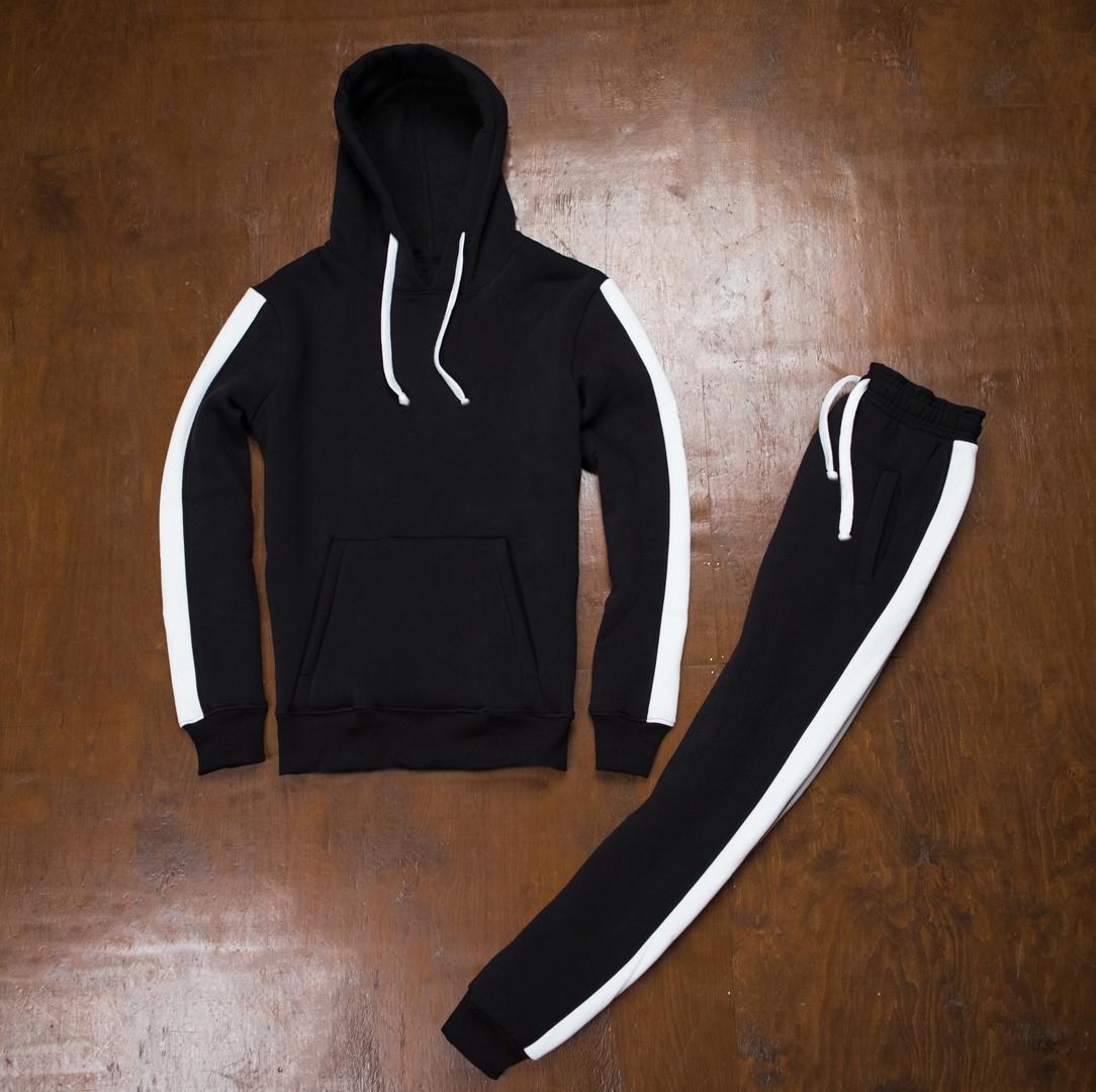 Спортивный теплый костюм черный с широкими белыми лампасами