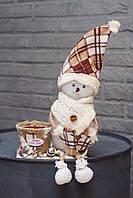 Снеговик с кашпо, 50х21 см, ручная работа, Украина новогодний декор