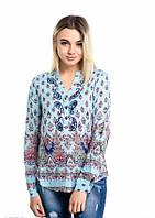 Голубая летняя рубашка с индийским принтом и вышитыми огурцами