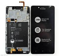 Дисплей для Lenovo A6000/K3 (K30-T)/K3 (K30W) с тачскрином и рамкой черный Оригинал