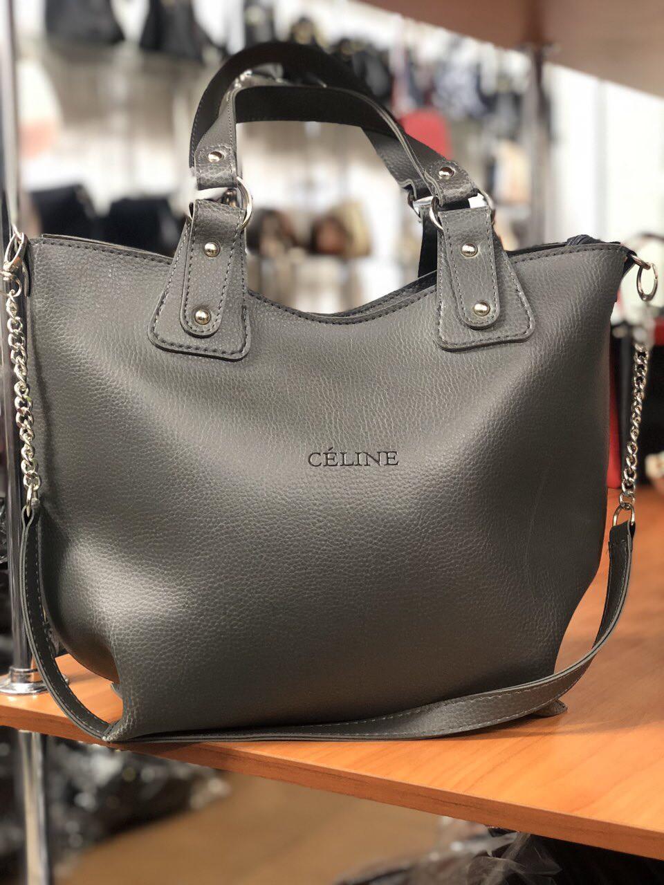 Женская сумка в стиле Celine серая