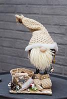 Гномик с кашпо и декором, 36х20 см, ручная работа, Украина новогодний декор