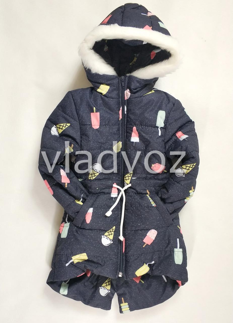 Детская зимняя куртка утепленная на зиму для девочки 2-3 года