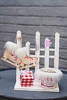 Заборчик с кашпо и декором, 26х20 см, ручная работа, Украина новогодний декор