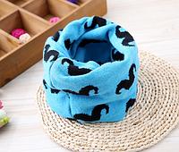 Детский вязаный шарф - хомут Голубой