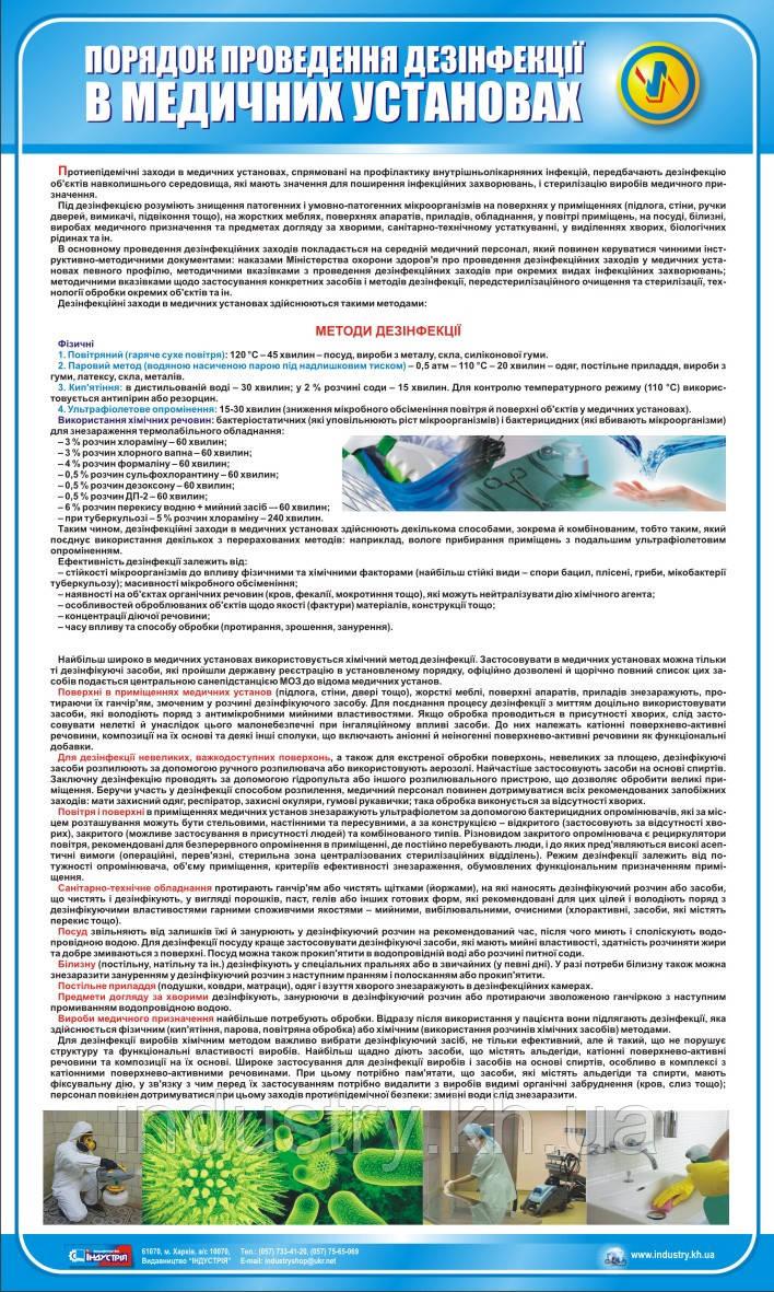 Стенд. Порядок проведення дезінфекції в медичних установах. 0,6х1,0. Пластик