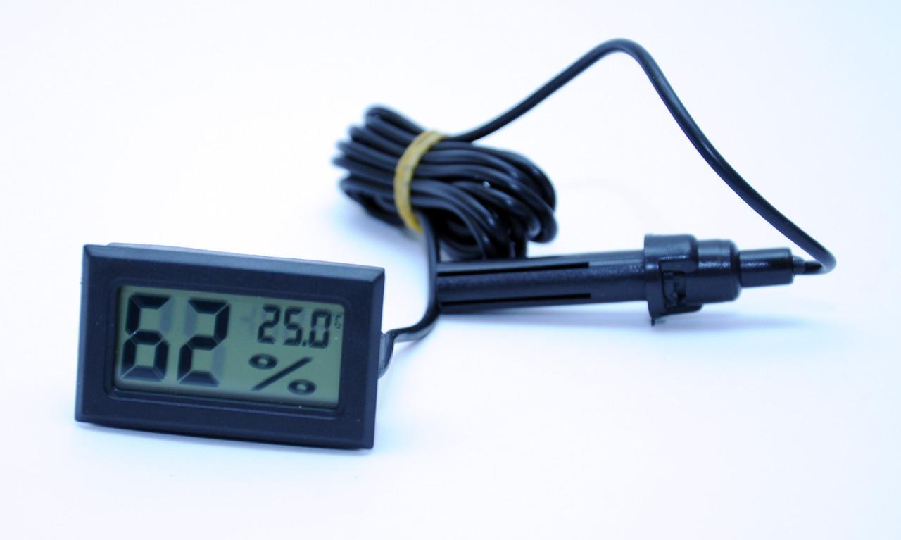 Электронный термометр гигрометр с датчиком -50+110 черный