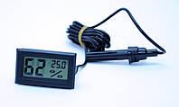 Электронный термометр гигрометр с датчиком -50+110 черный, фото 1