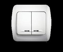 Выключатель двухклавишный с подсветкой в сборе ТМ Erste (Classic)