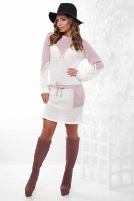 (S-L) Двоколірне в'язане молочне плаття Kelly