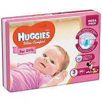 """Huggies Подгузники для девочек """"Ultra Comfort"""" Mega Pack 3 (5-9кг, 80 шт)"""