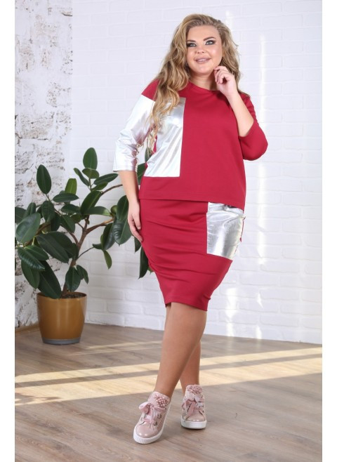 f238db8b72a Я-Модна - купить Женский костюм с юбкой Вернисаж цвет бордо   размер ...