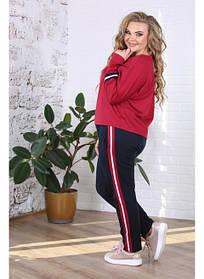 Женские спортивные брюки с лампасами Люкс / размер 48-72