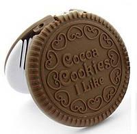 Дзеркало складне Шоколадне печиво, із гребінцем / Зеркало - шоколадное печенье