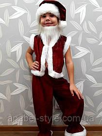 Костюм детский Санта Клаус/Гномик (велюр бордовый) Код 00100