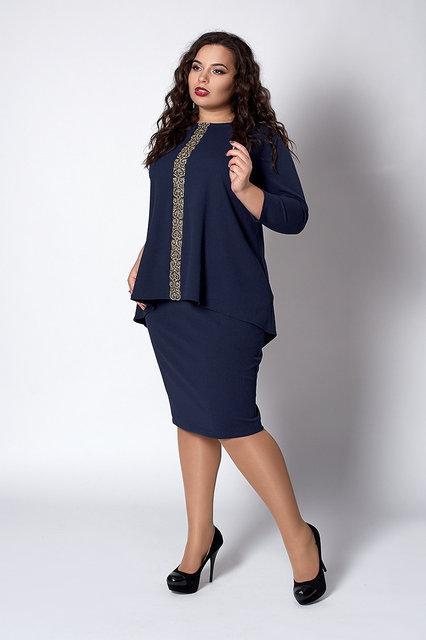 Нарядный костюм женский, размеры 52,54,56,58 синий