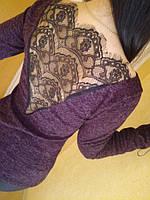 Бордовая ангоровая женская  кофта с кружевной спиной