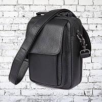 Мужская кожаная сумка City 004 Чёрная