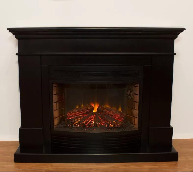 Пристенный современный каминокомплект из МДФ Fireplace Нью Йорк со звуком и эффектом живого огня