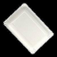 Тарілка паперова прямокутна Біла ХТ 100шт/уп 15*22см (10/1000)