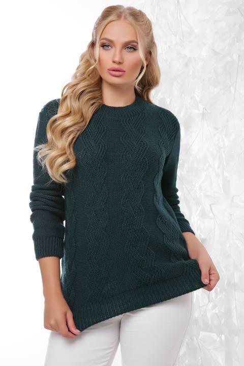 Вязаный свитер Инара темно-зеленый(48-54)
