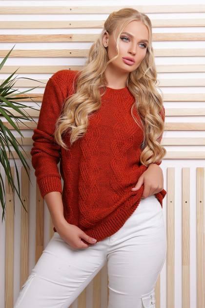 Вязаный свитер Инара терракот(48-54)