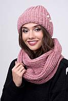 Тёплый стильный комплект вязаный шапка и шарф Пуф 8 цветов