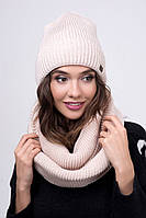 Комплект вязаный шапка и шарф хомут Клин