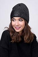 Женская шапка вязаная с нанесением Blu